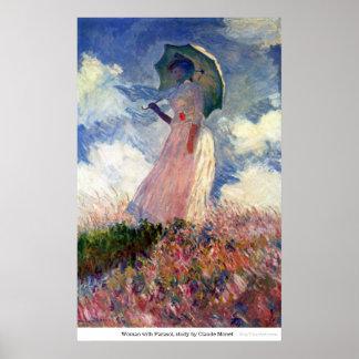 Mujer con el parasol, estudio de Claude Monet Poster