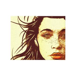 Mujer con el pelo que sopla en el viento lienzo envuelto para galerías