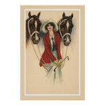 Mujer con el poster de dos caballos