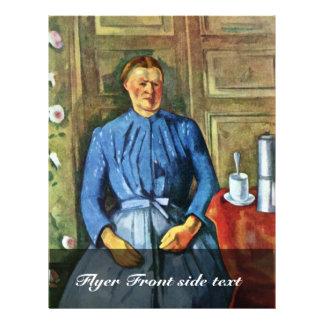 Mujer con el pote del café de Paul Cézanne Tarjetas Informativas
