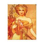 Mujer con el ramo anaranjado impresión en lona