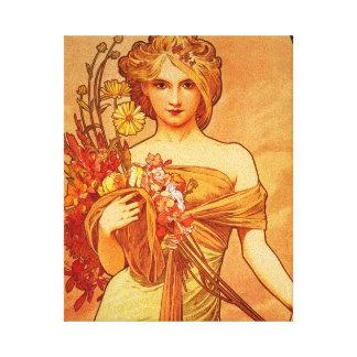 Mujer con el ramo anaranjado lona envuelta para galerias