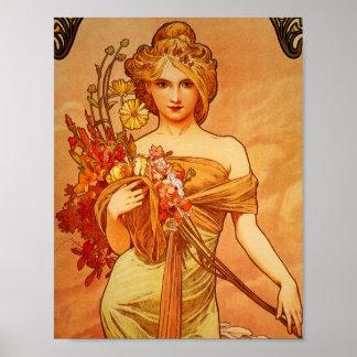 Mujer con el ramo anaranjado póster