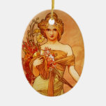 Mujer con el ramo de Oragna Adorno Ovalado De Cerámica