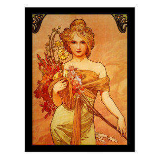 Mujer con el ramo de Oragna Tarjetas Postales