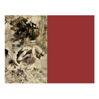 Mujer con el rastrillo y la cesta tarjeta postal