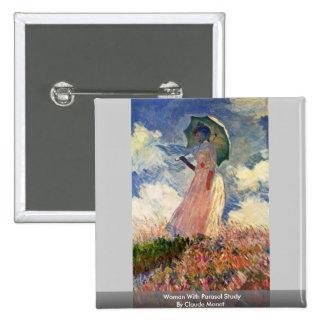 Mujer con estudio del parasol de Claude Monet Pins