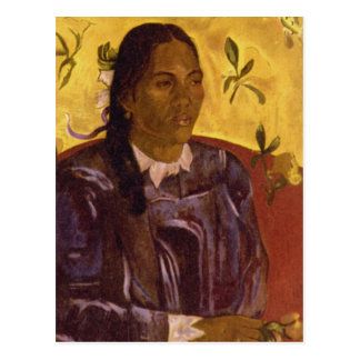Mujer con Gardenia de Paul Gauguin Tarjeta Postal