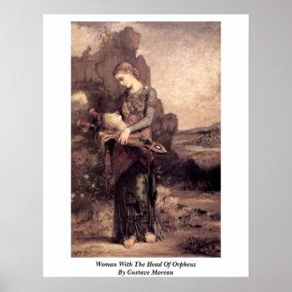 Mujer con la cabeza de Orfeo de Gustave Moreau Póster