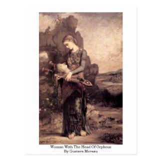 Mujer con la cabeza de Orfeo de Gustave Moreau Tarjeta Postal