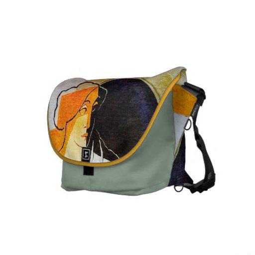 Mujer con la cesta de fruta - la bolsa de mensajer bolsas messenger