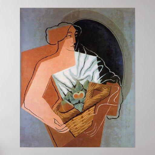 Mujer con la cesta, por Juan Gris Póster