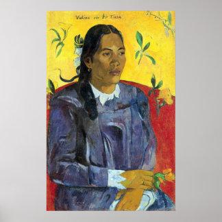 Mujer con la flor de Eugène Enrique Paul Gauguin Póster