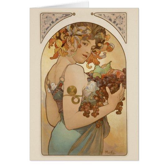 Mujer con la fruta tarjeta pequeña