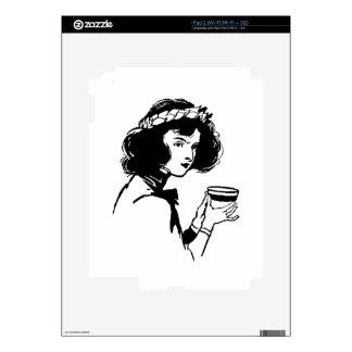 Mujer con la imagen del vintage de la taza que ust iPad 2 skin