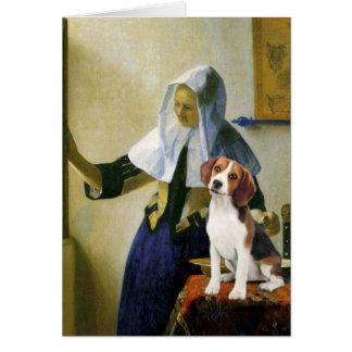 Mujer con la jarra - beagle 1 (P.M.) Tarjetón