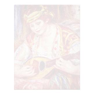 Mujer con la mandolina de Pierre-Auguste Renoir Plantilla De Membrete