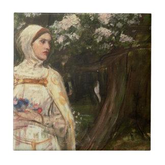 Mujer con la pintura al óleo de las flores azulejo ceramica