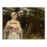 Mujer con la pintura al óleo de las flores tarjetas postales