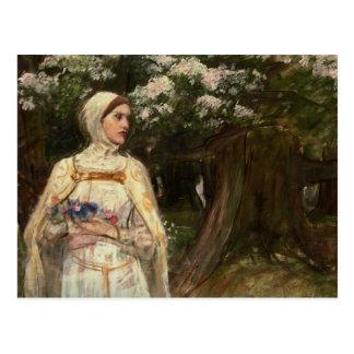 Mujer con la pintura al óleo de las flores tarjeta postal