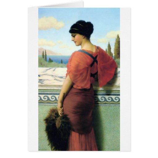 Mujer con la pintura de Godward de la fan Tarjeton