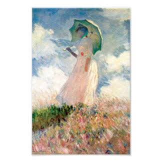 """Mujer con la """"promenade"""" Monet del parasol Arte Fotografico"""
