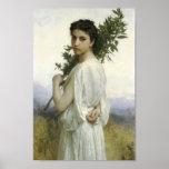 Mujer con la rama del laurel poster