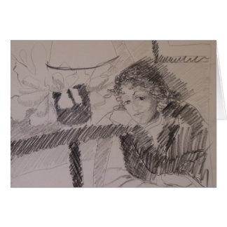 Mujer con la sonrisa boba notecard. tarjeta pequeña