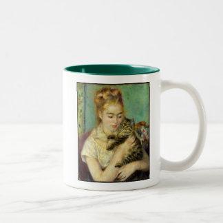 Mujer con la taza de café del gato