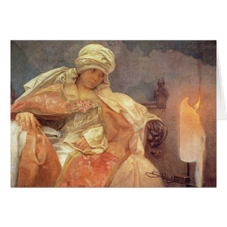 Mujer con la vela ardiente tarjeta de felicitación