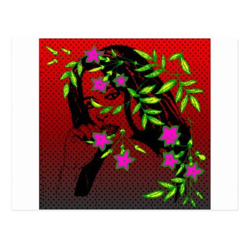 Mujer con las flores postal
