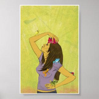 Mujer con las ranas 4x6 poster