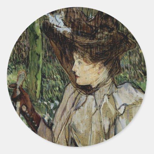 Mujer con los guantes por Toulouse-Lautrec Etiqueta Redonda