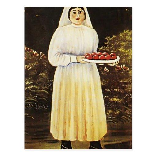 Mujer con los huevos de Pascua de Niko Pirosmani Tarjeta Postal