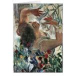 Mujer con los lirios en el invernadero - Lovis Cor Tarjeta