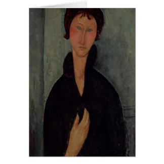 Mujer con los ojos azules, c.1918 tarjeta de felicitación
