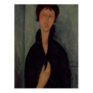 Mujer con los ojos azules, c.1918 postal