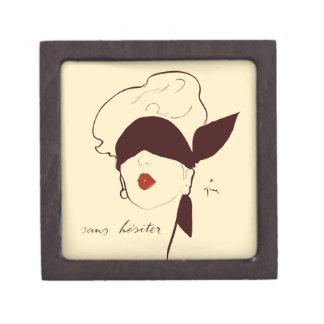 Mujer con los ojos vendados del poster francés del caja de regalo de calidad