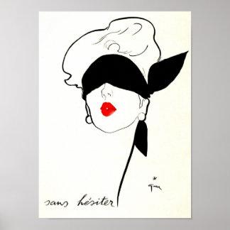 Mujer con los ojos vendados del poster francés del póster