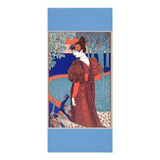 Mujer con los pavos reales cerca: Louis Juan Rhead Diseños De Tarjetas Publicitarias