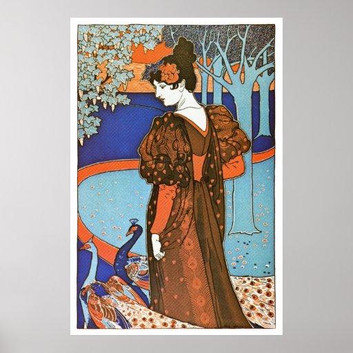 Mujer con los pavos reales - Louis Rhead Posters