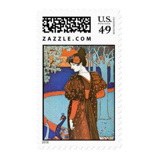 Mujer con los pavos reales - Louis Rhead Franqueo