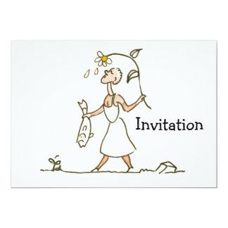 """Mujer con los pescados invitación 5"""" x 7"""""""