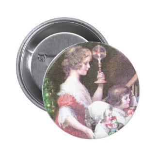 Mujer con navidad del vintage de la vela de Haloed Pin