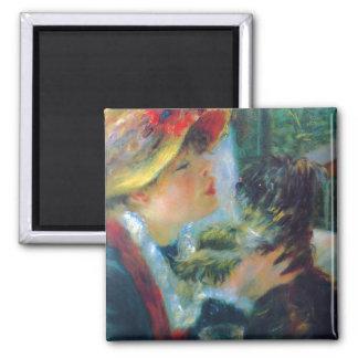 Mujer con su bella arte de Renoir del perro Imán Cuadrado