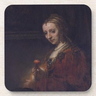 Mujer con un clavel rosado de Rembrandt Van Rijn Posavasos De Bebidas