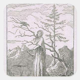 Mujer con un cuervo, al borde de un precipicio pegatina cuadrada