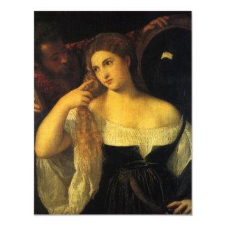 Mujer con un espejo por Titian Invitación 10,8 X 13,9 Cm