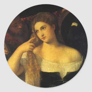 Mujer con un espejo por Titian Pegatina Redonda