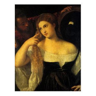 Mujer con un espejo por Titian Tarjeta Postal